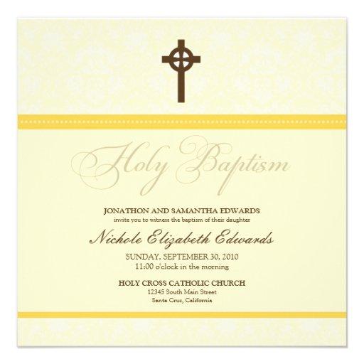 Elegant Damask Holy Baptism Invitation (yellow)