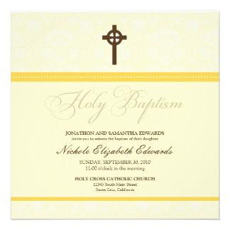 Elegant Damask Holy Baptism Invitation yellow