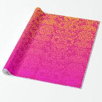Elegant Damask (Hot Pink and Orange) Wrapping Paper
