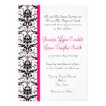 Elegant Damask Hot Pink Stripe Wedding Invitations