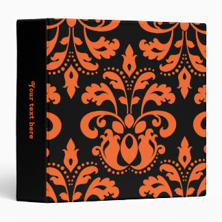 Elegant damask in black and orange for Halloween 3 Ring Binder