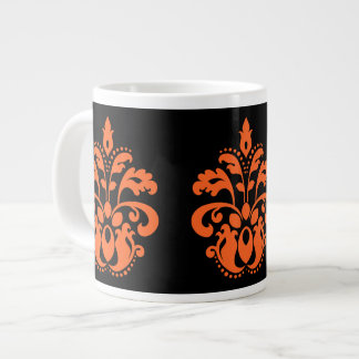 Elegant damask in black and orange for Halloween Giant Coffee Mug