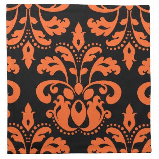 Elegant damask in black and orange for halloween printed for Halloween cloth napkins