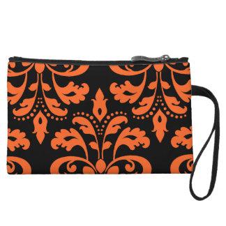 Elegant damask in black and orange for Halloween Wristlet