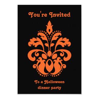 Elegant damask in black and orange Halloween party Card