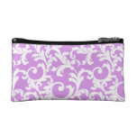 Elegant Damask in Mixed Berry Smoothie Makeup Bags