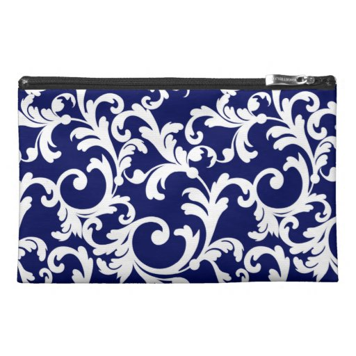 Elegant Damask in Navy Travel Accessory Bags
