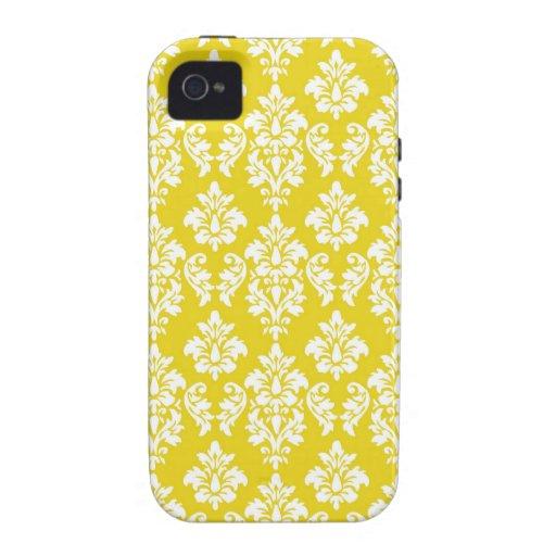 Elegant Damask iPhone 4 Case-Mate Yellow Vibe iPhone 4 Case