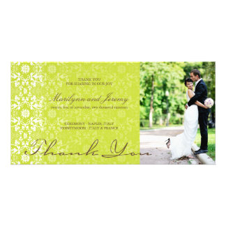 Elegant Damask Lace Lime Green Photo Thank You Card