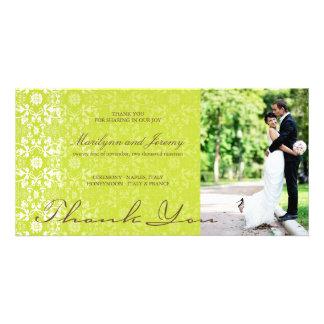 Elegant Damask Lace Lime Green Photo Thank You Photo Card
