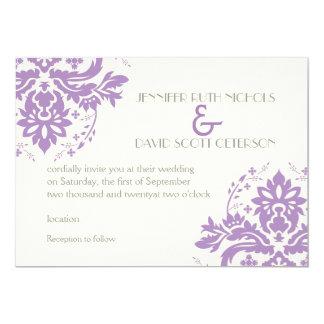 Elegant damask lavender, grey, ivory wedding card