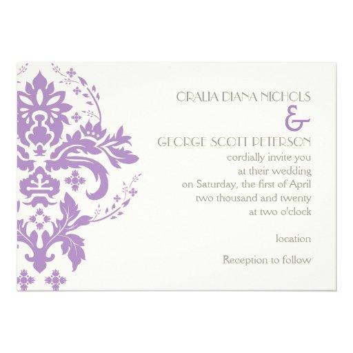 Elegant damask lavender, grey, ivory wedding custom invitation