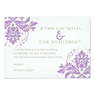Elegant damask lavender, grey, ivory wedding invitations