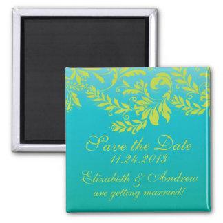 Elegant Damask Leaf Swirl Save The Date Magnet