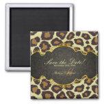 Elegant Damask Leopard Save the Date  Magnets