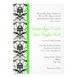 Elegant Damask Lime Stripe Wedding Invitation