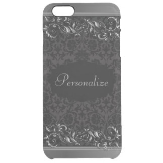 Elegant Damask Metallic Accents Clear iPhone 6 Plus Case