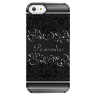 Elegant Damask Metallic Accents Clear iPhone SE/5/5s Case