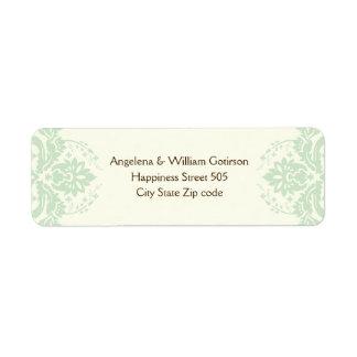 Elegant damask mint green, brown, ivory wedding custom return address labels