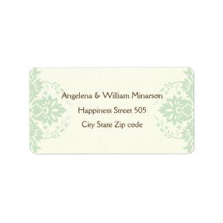 Elegant damask mint green, brown, ivory wedding personalized address labels