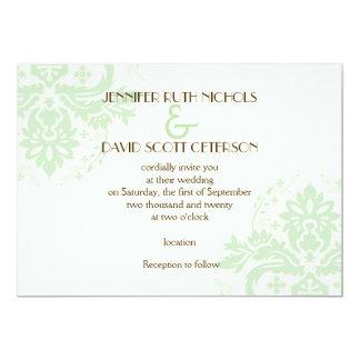 Elegant damask mint green, ivory wedding invitations
