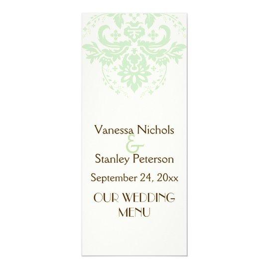Elegant damask mint green, ivory wedding menu card