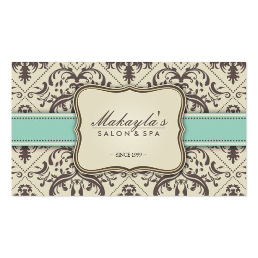 Elegant Damask Modern Brown, Green and Beige Business Card Templates
