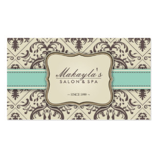 Elegant Damask Modern Brown, Green and Beige Double-Sided Standard Business Cards (Pack Of 100)