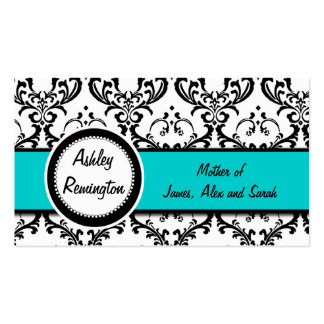 Elegant Damask Mommy Calling Cards Aqua Blue Business Card Templates