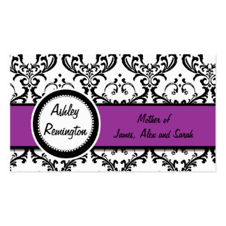 Elegant Damask Mommy Calling Cards Purple Mauve Business Card Templates