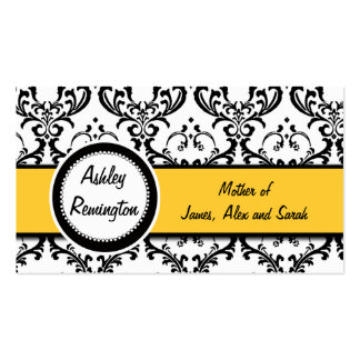 Elegant Damask Mommy Calling Cards Yellow Business Cards