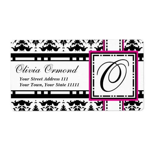 Elegant Damask Monogram O Chic Labels label