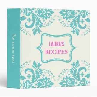 Elegant damask motif aqua, hot pink, ivory recipe vinyl binders
