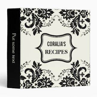 Elegant damask motif black, ivory recipe binder