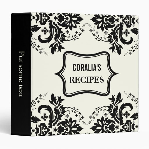 Elegant damask motif black, ivory recipe vinyl binder