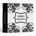 Elegant damask motif black, white recipe binder