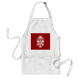 Elegant Damask Motif Christmas Red and White Adult Apron