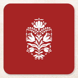 Elegant Damask Motif Christmas Red and White Square Paper Coaster