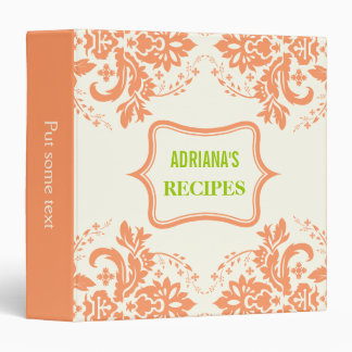Elegant damask motif coral, green, ivory recipe 3 ring binder