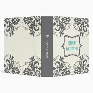 Elegant damask motif grey, aqua, ivory recipe binder