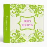Elegant damask motif lime green, ivory recipe 3 ring binder