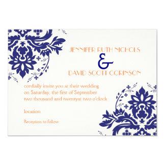 Elegant damask motif navy blue, coral wedding card
