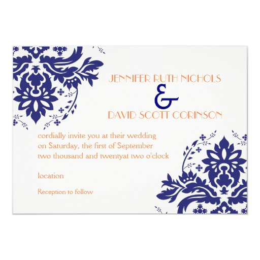 Elegant damask motif navy blue coral wedding 5x7 paper for Royal blue and coral wedding invitations