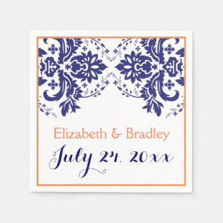 Elegant damask motif navy blue, coral wedding napkin