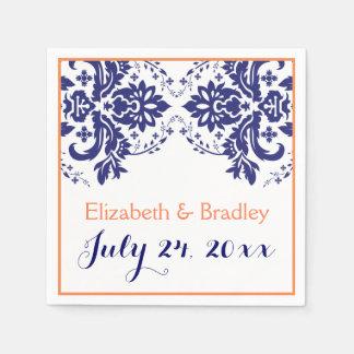 Elegant damask motif navy blue, coral wedding paper napkins