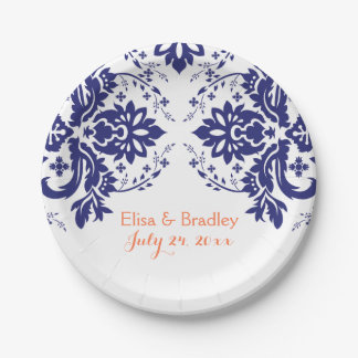Elegant damask motif navy blue, coral wedding paper plate