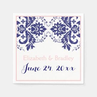 Elegant damask motif navy blue, pink wedding paper napkin