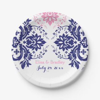 Elegant damask motif navy blue, pink wedding paper plate