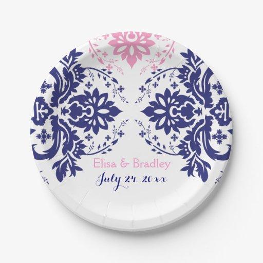 elegant damask motif navy blue pink wedding 7 inch paper plate zazzle. Black Bedroom Furniture Sets. Home Design Ideas