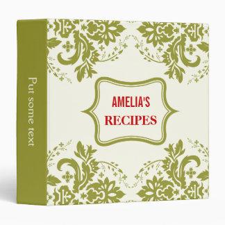 Elegant damask motif olive green, ivory recipe 3 ring binder